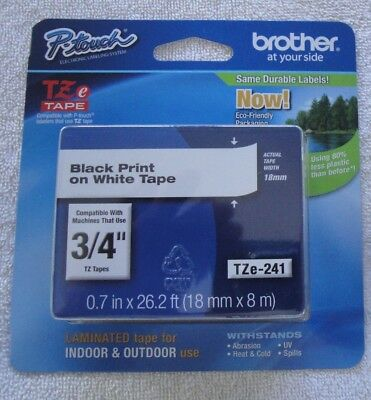 "COMPATIBLE Brother TZe-241 BLACK PRINT ON WHITE TAPE 3/4"" TZE241 LABEL"