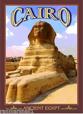 Cairo Sphinx Cat Ancient Egypt Egyptian Pyramids Travel Art Poster Advertisement