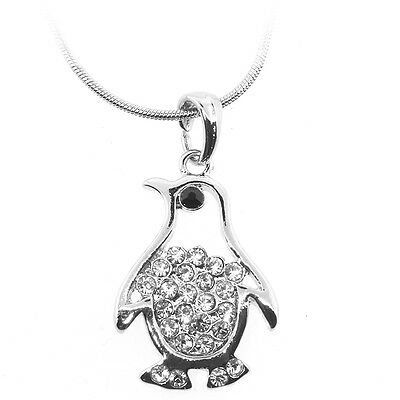 "Silver Color Penguin Shape Charm Pendant with White Crystals and 16"" Chain"