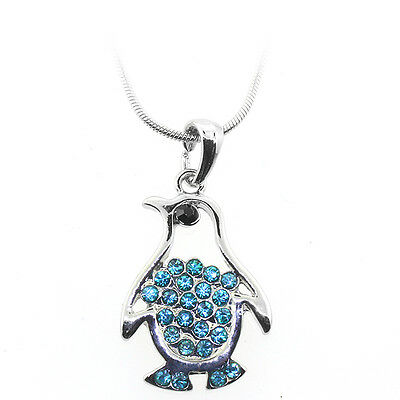 "Silver & Blue Color Penguin Shape Charm Pendant with Blue Crystals and 16"" Chain"