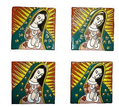 VIRGEN DE GUADALUPE LOT of 4 Mexican Talavera Clay Tile Hand Painted Art Kitchen