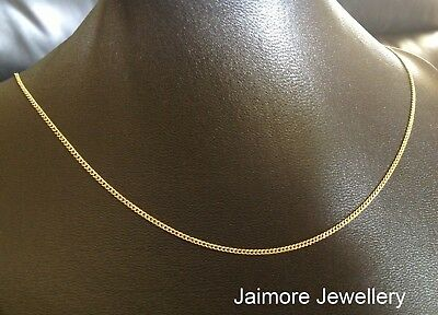 "100% Real 9K Aust Gold & 925 Silver CURB Diamond Cut 1mm Necklace CHAIN 18""/45cm"