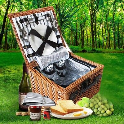 2 Person Picnic Basket Set Built-in Insulated Cooler Bag w/ Blanket Outdoor Gift