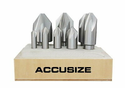 6 Flute HSS Machine Countersink Set 8 Pcs/Set 82°, Precision Ground, #0206-1018