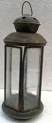 VINTAGE BRASS AND GLASS MADE SIX SIDED LAMP CANDLE HOLDER