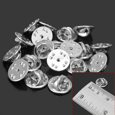 20 Pcs Metal Badge Silver Tie Tack Butterfly Clutch Lapel Clasp Pins Accessory