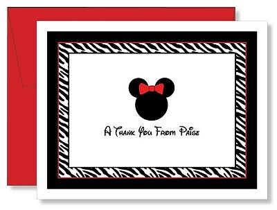 Custom Personalized Minnie Mouse Zebra Thank You Note Cards
