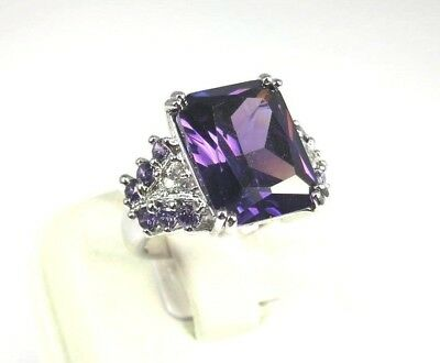 R#5326 simulated Purple Amethyst White Topaz Gemstone ladies Silver Ring Size 7