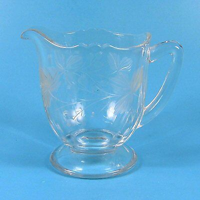Morgantown Clear Glass Footed Creamer Cut Leaves & Berry Berries Vintage 7689