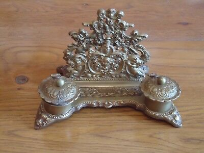 Victorian Style Inkwell Letter Rack Antique Brass Very Ornate - Ink Well- Desk