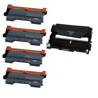 4PK TN450 Toner + 1PK DR420 Drum for Brother DCP-7060D HL-2240 MFC-7360N