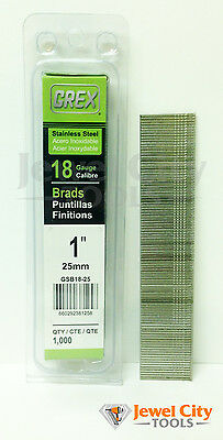 "Grex 18 Gauge 1"" inch Long Stainless Steel Brad Nails - GBS18-25 Qty: 1000"