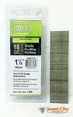 "Grex 18 Gauge 1-1/4"" inch Long Stainless Steel Brad Nails - GBS18-32 Qty: 1000"