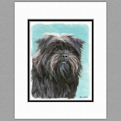Affenpincher Dog Original Art Print 8x10 Matted to 11x14