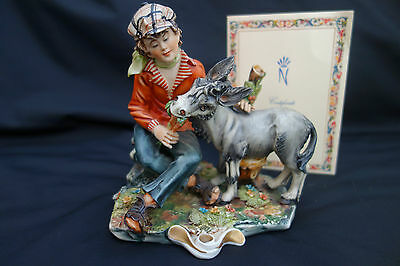 """CAPODIMONTE FIGURINE """"GOOD FRIENDS"""" BY CORTESE WITH CERTIFICATE 1974"""