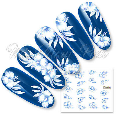 Nail Art Water Decals Transfers Stickers Tropical Hibiscus Flower Blue G060