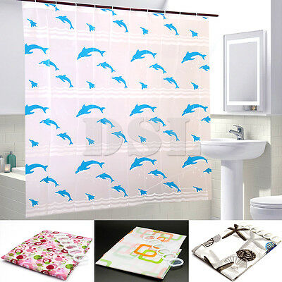 200x 180cm Extra Wide Modern Designer Plastic EVA Bathroom Shower Curtain + Hook