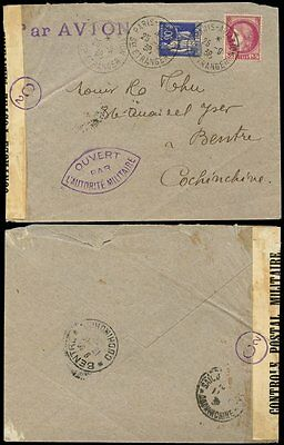 FRENCH INDOCHINA 1939 SEPT CENSOR to BENTRE