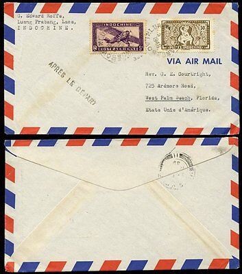 FRENCH INDOCHINA 1948 LAOS AIRMAIL to FLORIDA..APRES DEPART LUANG PRABANG via HK