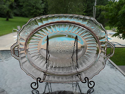"""Pink Mayfair """"open Rose"""" 9 1/2"""" Oval Bowl Hocking Depression Glass 1931-37"""