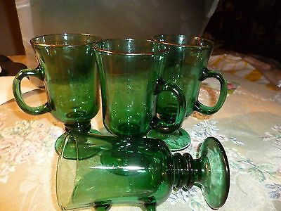 """Set Of 6  Emerald Green Footed """"Libbey"""" Pedestal Coffee Mugs"""