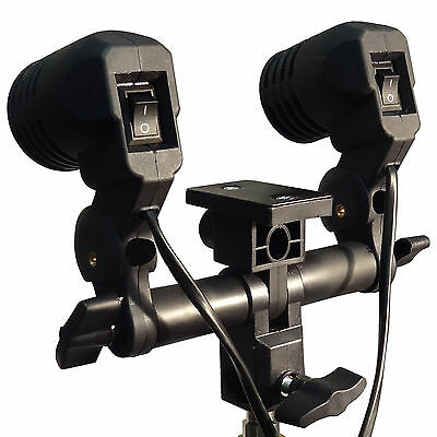 Double Head AC Swivel Socket Photography Umbrella Bracket Flash Lamp Bulb Holder