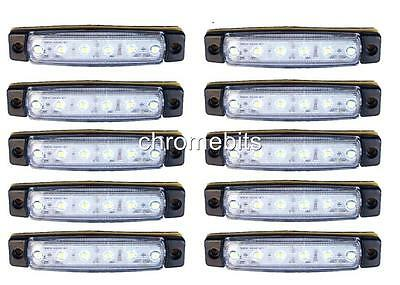 10 pcs White 24V 6 LED Side Front Marker Indicators Lights Lamp Truck Trailer