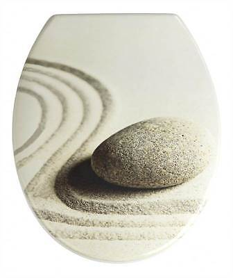 Wenko Plastic Toilet Seat Sand & Stone Design With Stainless Steel Fixings