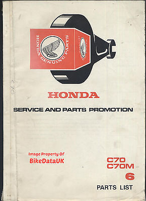 Honda C70 Cub (1972-1977) Dealers Fully Illustrated Parts Catalogue C70M,C 70 M