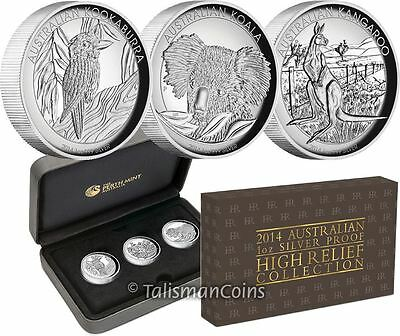 Australia 2014 High Relief Piedfort 3 Coin Silver $1 Proof Set Kangaroo Koala