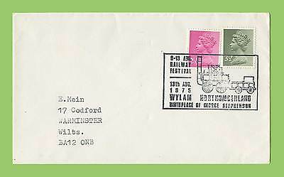 GB 1975 Plain cover with special Commemorative Railway Festival Wylam Handstamp