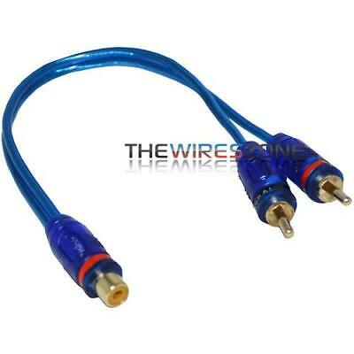 SCA-Y2M1F Blue Spiral Shielded 2 Male 1 Female Y-Adapter RCA Audio Cable Wire