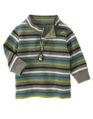 NWT GYMBOREE Snow Days Striped Fleece 1/4 zip Snowman Toggle