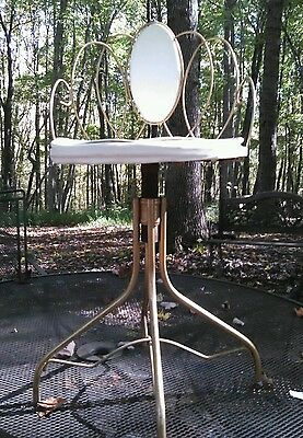 Vintage White Seat  Gold Metal Scroll / Wire Vanity Chair / Seat / Stool