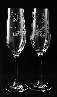 Peacock Feather Personalized Wedding Toasting Glasses #2, Champagne Flute