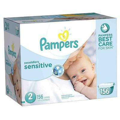 NEW Pampers Swaddlers Sensitive Diapers Size 2 Economy Pack Plus 156 Count