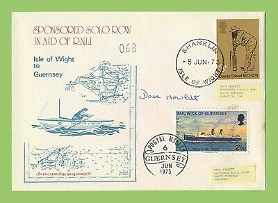 GB 1973 Sponsored Row for RNLI  IOW-Guernsey Signed Dual Cancel