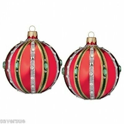 "Waterford Holiday Heirlooms 3"" Ruby Ball Ball Ornament  NIB Set of 2 # 162990"