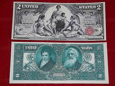 "Beautiful 1896 $2 ""education"" Silver Certificate Copy Read Description"