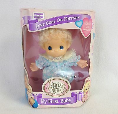 Precious Moments My First Baby Girl Doll Blue Pajamas Original Box 1995 RoseArt