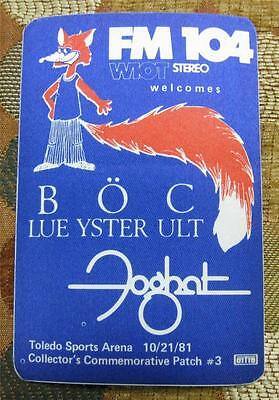 Vintage OTTO Blue Oyster Cult & Foghat 1981 Toledo Radio Promo Backstage Pass