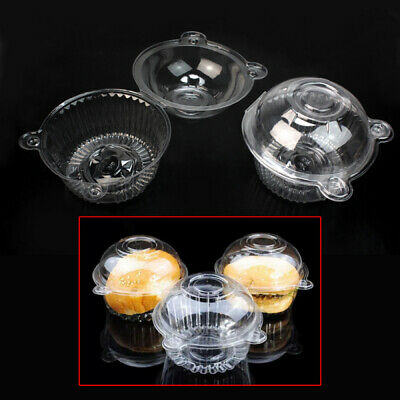 Disposable 50 Clear Plastic Single Cup Cake Muffin Case Pods Boxes Holder New