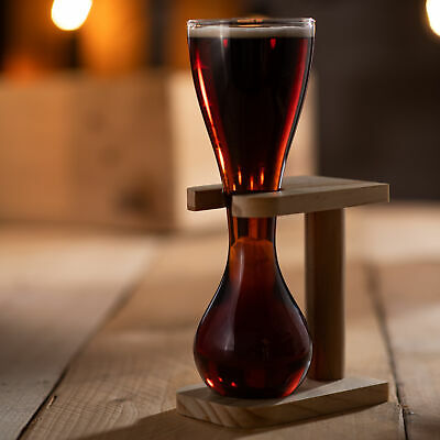 Glass Quarter Yard of Ale with Stand | Kwak Style Beer Glass, Belgian Beer Glass