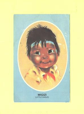 G POSTCARD MIGIZI LITTLE EAGLE CHILDREN OF  NORTH PASTEL BY AUDREY YOUNG OPPEL