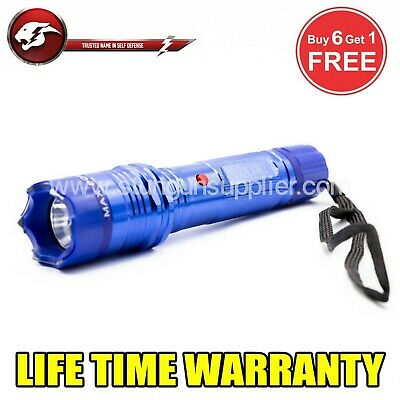 STUN GUN ALL Metal POLICE  10 Million Volt Rechargeable + LED Flashlight -Blue