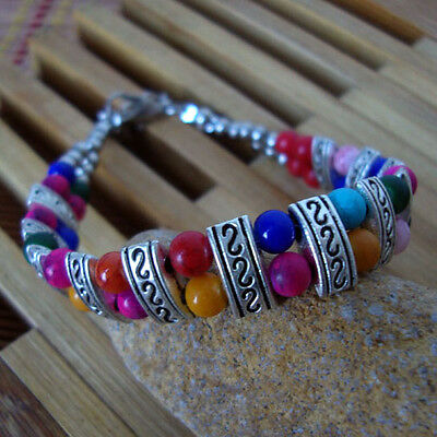 Free shipping New Tibet silver multicolor jade turquoise bead bracelet S10