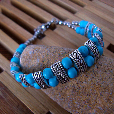 Free shipping New Tibet silver multicolor jade turquoise bead bracelet S09