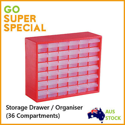 Storage Drawer w/ 36 Compartments,Plastic Tool Box Tool Organiser Bin Screw Case
