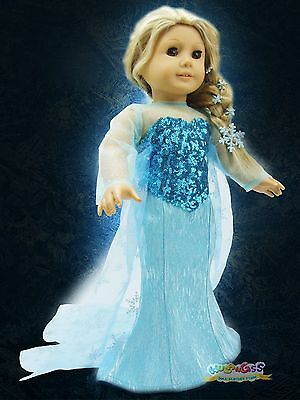"Doll Clothes fits 18"" American Girl Handmade Frozen Elsa Sparkle Dress Costume"