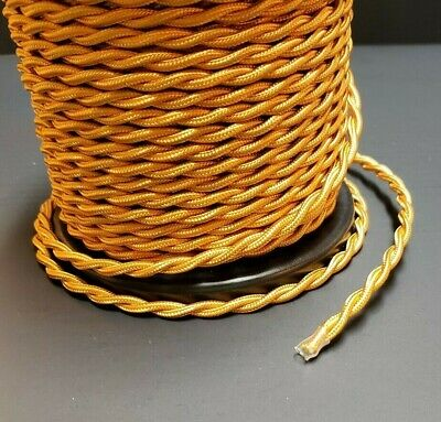 GOLD RAYON COVERED TWISTED LAMP CORD 18 GAUGE 2 WIRE SOLD BY THE FOOT 46635JB